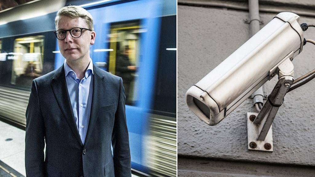 Till vänster, Kristoffer Tamsons, trafikregionråd, framför en tunnelbana. Till höger, en övervakningskamera riktad mot Kristoffer Tamsons.