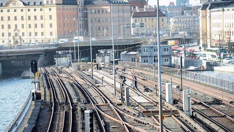 Järnväg i centrala Stockholm.