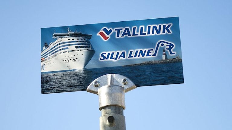 Busshållplats för Tallink och Silja Lines anslutningsbussar. Foto: Fredrik Sandberg/TT