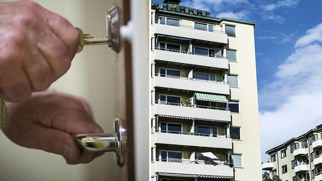 Till vänster händer som låser upp en dörr till, till höger ett flerfamiljshus.