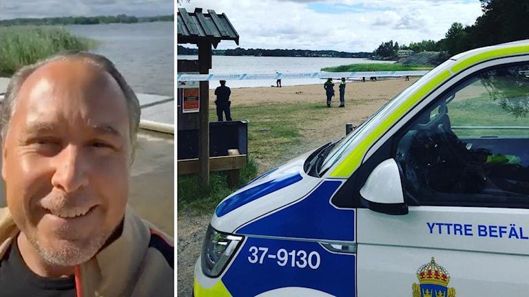 Jimmie Hall vid vattnet och polisbil vid stranden.