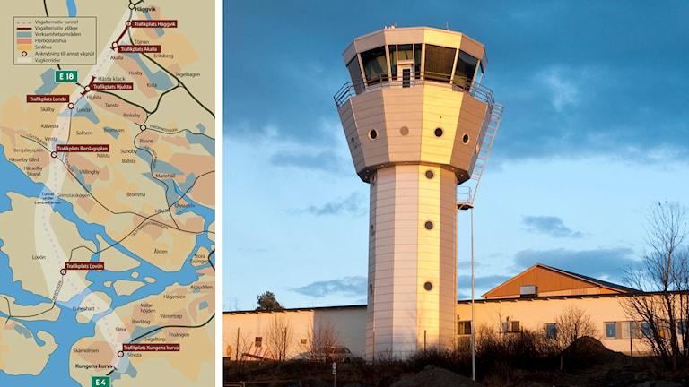 Förbifart Stockholm och flygtornet på Bromma flygplats. Foto: CC BY-SA och Bertil Ericson/TT.