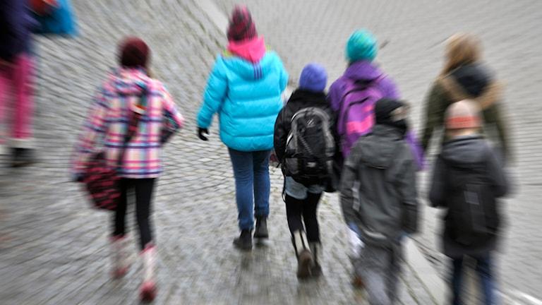 Skolbarn i tioårsåldern på promenad. Foto: Hasse Holmberg / TT.