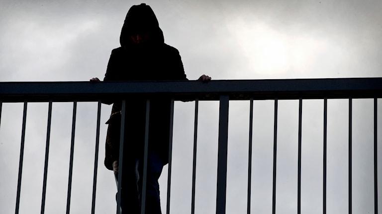 En deprimerad kvinna står på en bro och funderar på att ta livet av sig.Foto: Claudio Bresciani /TT.