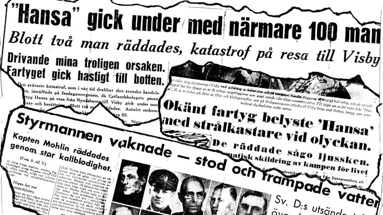 Tidningsrubriker från olika dags och -morgontidningar om fartygsolyckan med S/S Hansa. Fotokollage: TT.