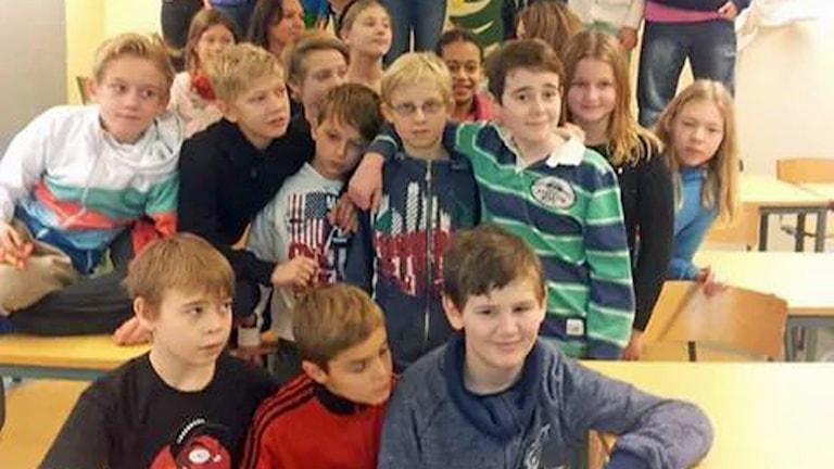 Klass 5B, Ängsnässkolan i Huddinge. Foto: Monika Bohman /Sveriges Radio.