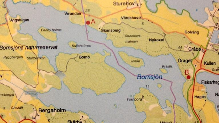 Karta över Bornsjön och Bornsjöverket. Foto: Stockholm vatten