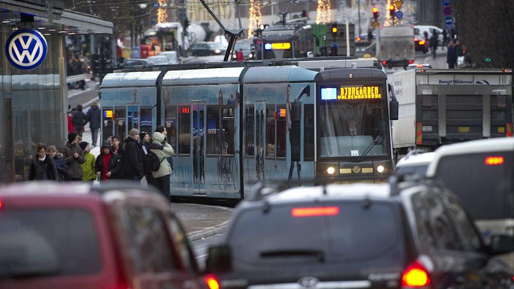 Spårväg Citys förlängning kan försenas. Foto: Fredrik Sandberg/TT