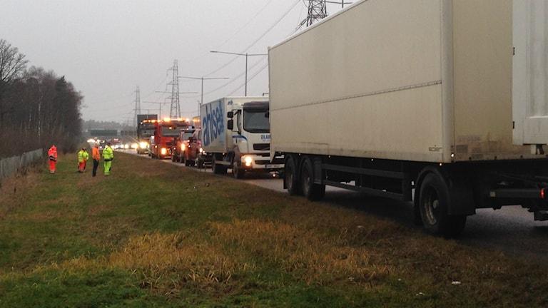 Lastbilar har stått still i dagliga demonstrationer. Foto Ulf Bungerfeldt, P4 Radio Stockholm