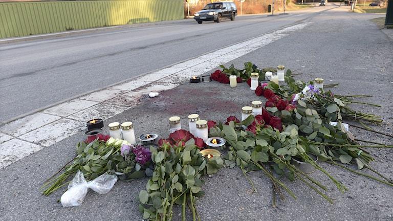 Blommor och ljus på platsen där en 21-åring knivdödades på Norra Parkhemsvägen i Tullinge efter ett trafikbråk. Foto: Fredrik Sandberg/TT
