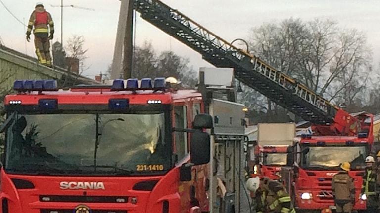 Brandbilar utanför ett hus i Tallkrogen i Stockholm. Foto: Sveriges Radio.