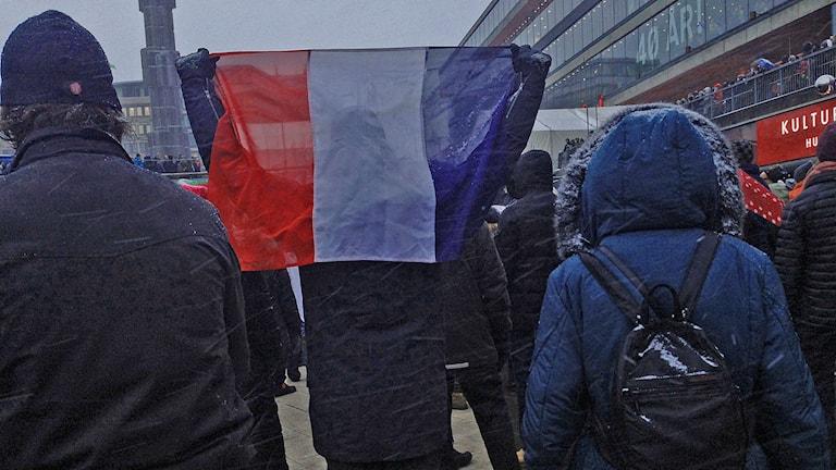 Manifestation för yttrandefrihet på Sergels torg #CharlieSthlm