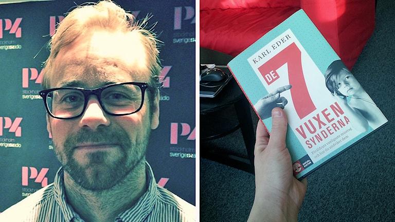 Karl Eder och boken De 7 vuxensynderna. Foto: Sveriges Radio.