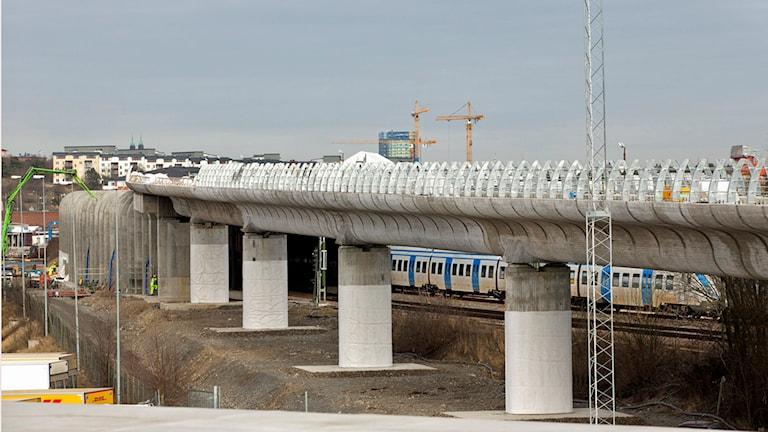 Järnvägsbron i Årsta. Foto: Trafikverket.