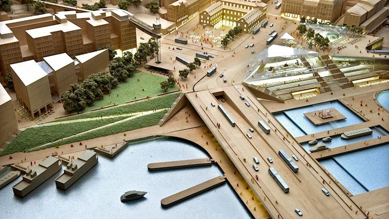Det slutgiltiga arkitektförslaget till nya Slussen har tagits fram av Foster + Partners och Berg Arkitektkontor. Foto: Claudio Bresciani /TT.