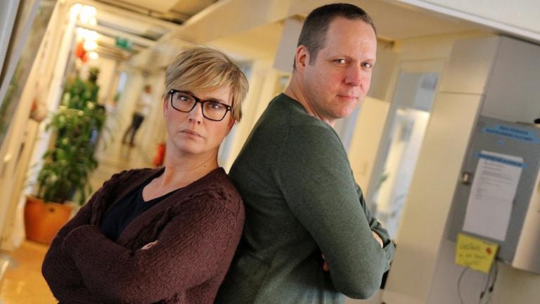 Ylva Lilja och Björn Lindberg i P4 Stockholm. Foto: Helen Ling /Sveriges Radio.