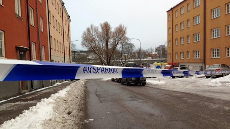 Skottlossning i Sundbyberg. Foto: Björn Lindberg /Sveriges Radio.