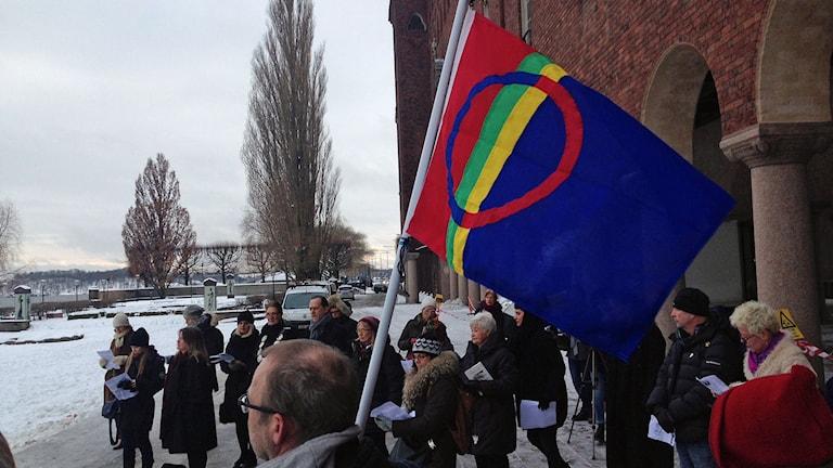 Samernas nationaldag firas idag utanför Stockholms stadshus. Foto: Björn Lindberg/Sveriges radio.