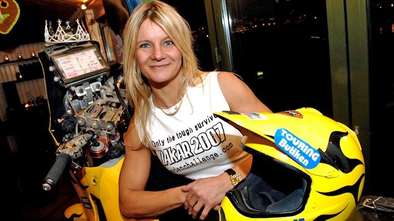 Annie Seel kör Dakarrallyt på sin motorcykel. Foto: Ingvar Karmhed / SvD /TT.