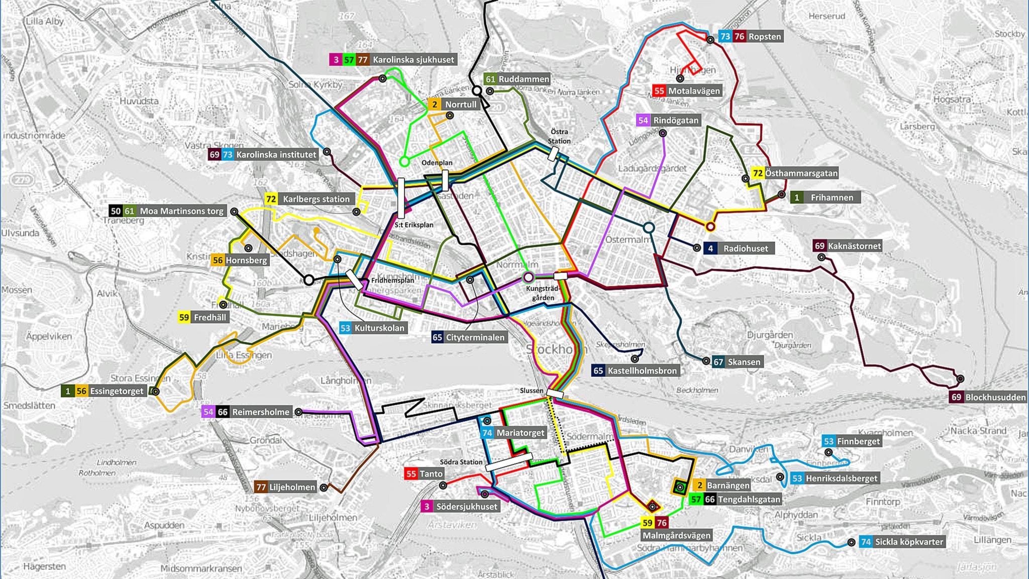 sl karta buss Stor omläggning för bussar i innerstaden   P4 Stockholm | Sveriges  sl karta buss