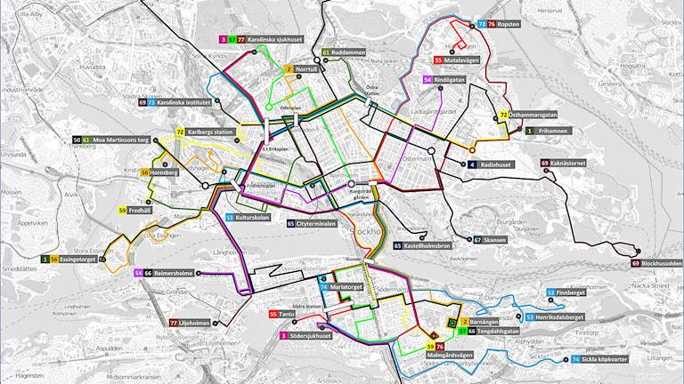 Keolis preliminära karta över busslinjer