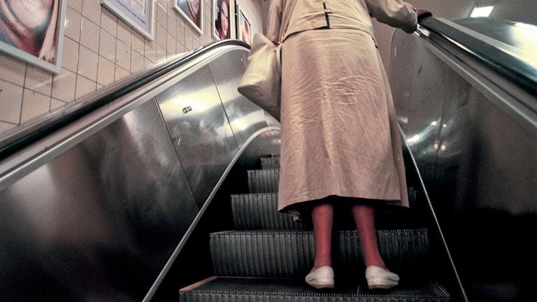 Tant i rulltrappa. Foto: Agnes Wikmark/TT.