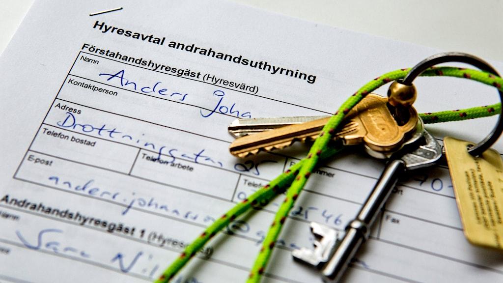 Att hyra en lägenhet i andra hand kan vara en lösning för många med bostadsbekymmer. Foto: Christine Olsson /TT.
