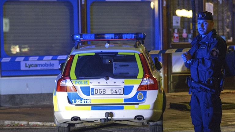 Polis och avspärrning. Foto: Johan Nilsson / TT