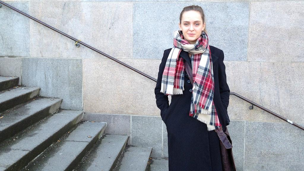 Ebba Ahlström Killgren är ledamot i Södra Latins elevkårs sociala utskott. Foto: Robin Oljelund Kjellberg/Sveriges Radio