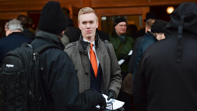 SDU:s vice ordförande William Hahne ny ordförande för Sverigesdemokraterna i Stockholm. Foto: Nora Lorek/TT.
