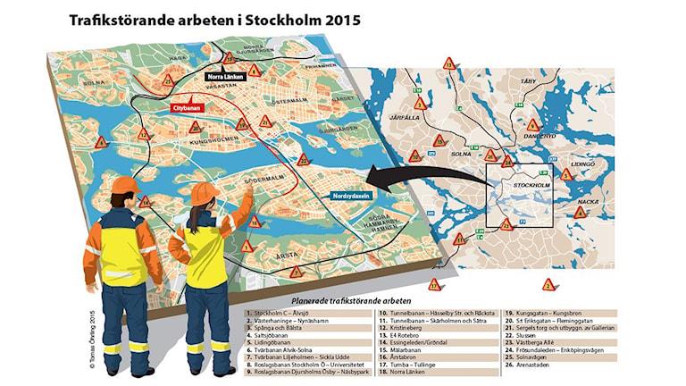 Karta över planerade vägbyggen i Stockholm. Illustration: Trafikverket.