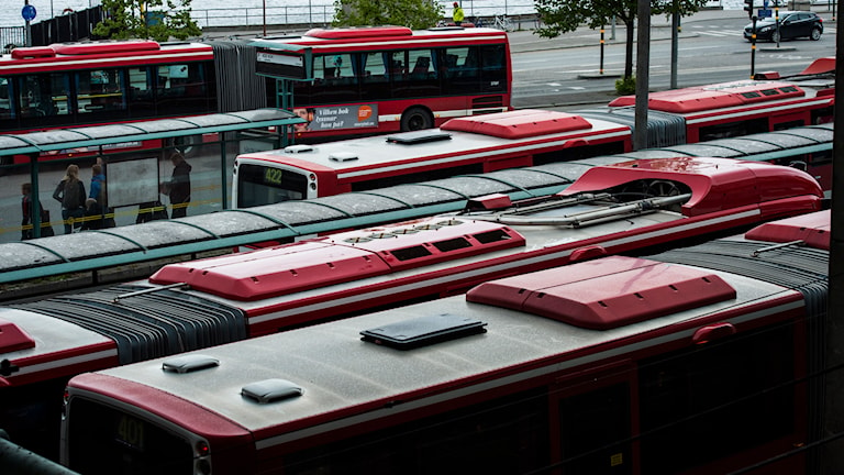 SL-bussar på terminalen vid Slussen