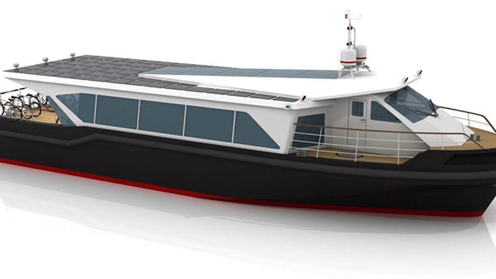 Tester planeras nu att genomföras i september med det batteridrivna snabbgående fartyget som delvis svävar på vågorna. Marschfarten kommer att vara omkring 30 knop. Foto: BB Green.