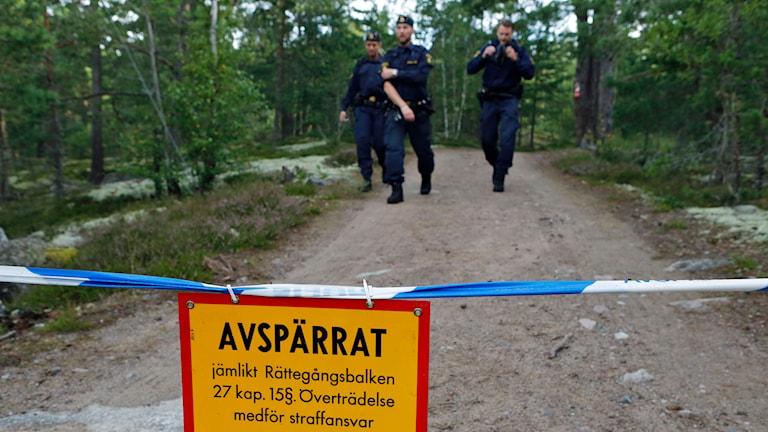 21-årig kvinna hittad död vid ett motionsspår i Upplands Väsby. Foto: Christine Olsson/TT.