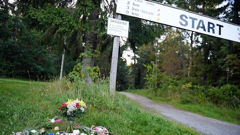 Blommor och ljus i närheten av den plats där en 21-årig kvinna, som anmäldes försvunnen efter en joggingtur i Upplands Väsby,