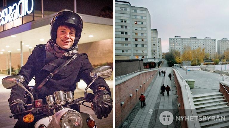 Henrik Olsson i P4 Stockholm och P5 STHLM åker till Malmvägen i Sollentuna och är programledare för en extra sändning. Fotomontage: Micke Grönberg /Sveriges Radio och TT.