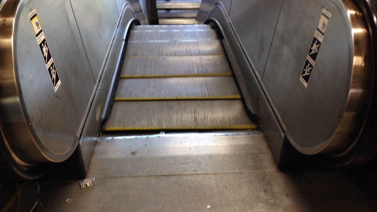 En ny rulltrappolycka inträffade på Universitetets tunnelbanestation på torsdagen. Foto: Nadya Norton/Sveriges Radio