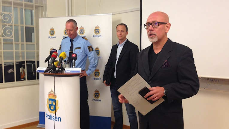 Polisen hålller pressträff med anledning av att man gripit en person misstänkt för mordet på 21-åriga Ida Johansson. Foto: Robin Oljelund Kjellberg/SR.