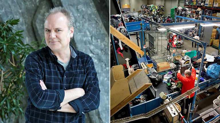 P4 Stockholms Pär Fontander sänder vid Myrornas sorteringsanläggning i Sätra. Foto: Jessica Gow /TT och Sveriges Radio.