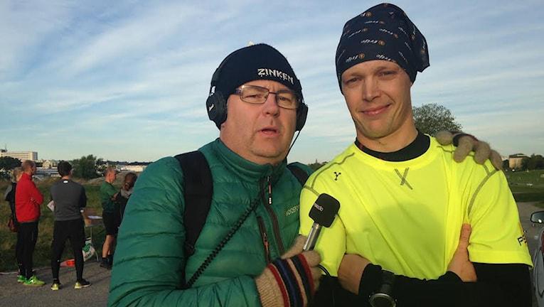 Mikael Pettersson sprang i tolv timmar för Världens Barn. Foto: Sveriges radio