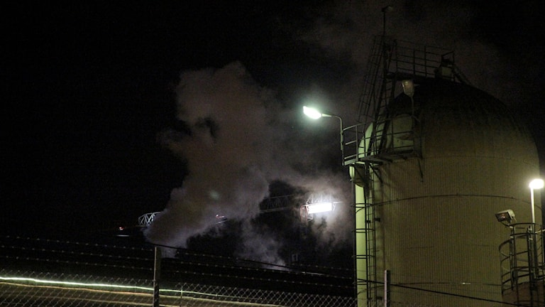 Vit rök från Fortums värmeverk. Foto: TT