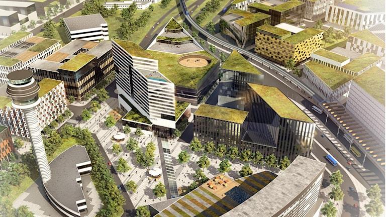 Så här kommer SkyCity Office One se ut. Grafisk skiss: Swedavia