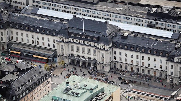 Flygbild över Stockholms centralstation. Foto Bertil Ericson/TT
