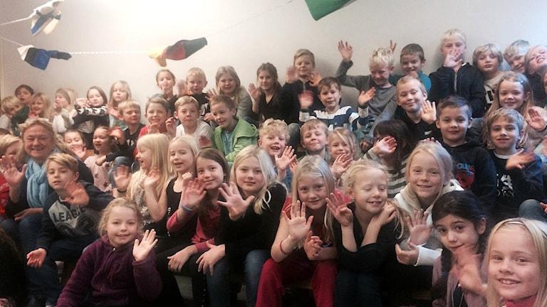Klass 2 i Sigfridsborgsskolan i Älta. Foto: Anders Hildemar Ohlsson/Sveriges Radio