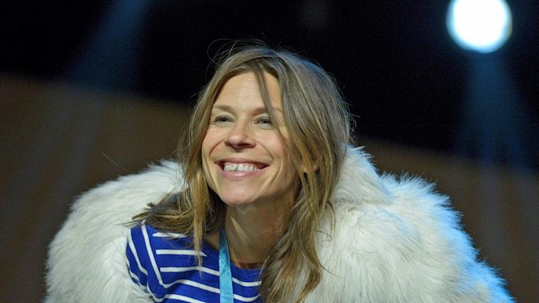 Caroline af Ugglas under pressträffen i samband med repetitionerna inför Melodifestivalen. Foto: Janerik Henriksson/TT.