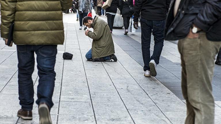 Tiggare på Drottninggatan Foto: Lars Pehrson / TT