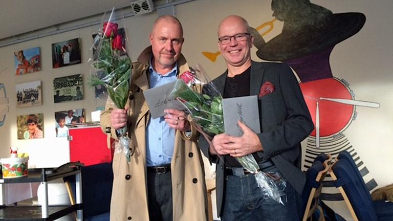 Anders Hildemar Ohlsson och Ulf Bungerfeldt, 25 år på Sveriges Radio. Foto: Sveriges Radio.