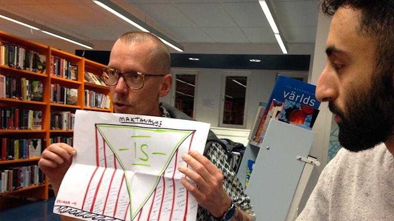 André tog initiativ till studiecirkeln om IS i Fittja. Foto: Mariela Quintana Melin/Sveriges Radio.