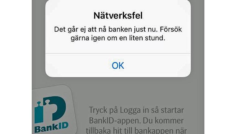 Tekniskt fel på bank-app