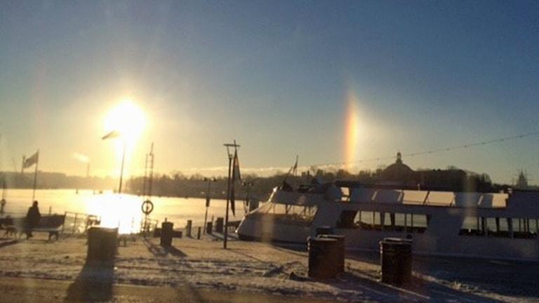 Här ses halon till höger i bild över Skeppsholmen. Foto: August Bergkvist/Sveriges Radio